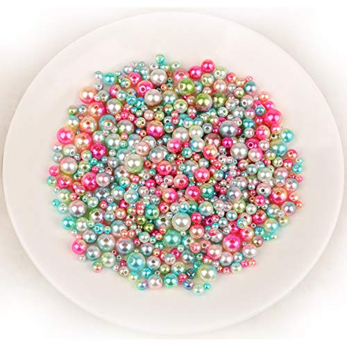 Craft DIY ABS Colorful Acrylic Round Beads Imitation Pearls String Hole Shiny Faux Pearl 4-10MM Mixed Color for Jewelry Making (4MM(About 1000pcs)) ()