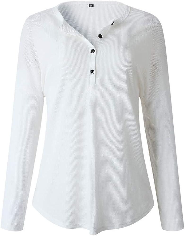 『Kawaiine』Henley Shirts V Neck Long Sleeve Button Down Tops Knit Tees Loose Long Sleeve Button Up Waffle Knit Tunic Tops