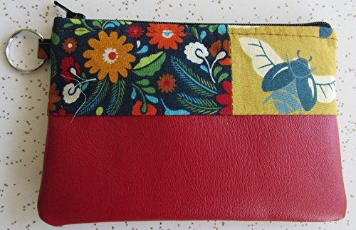 Wallet - Handmade Modern Bee Key Ring Wallet in Red Vegan Leather