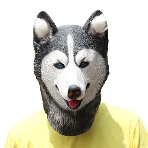 Original Couples Halloween Costumes Funny (PartyCostume Latex Animal Dog Head Mask (Husky))