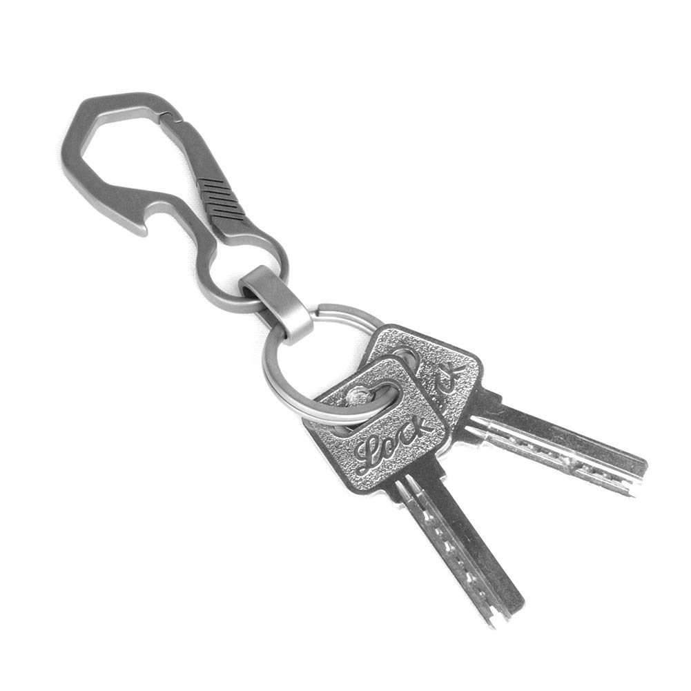 ,Carabiner Car Key Chains for Men and Women Key Ring and Gift Box FEGVE Titanium Heavy Duty Key Chain with