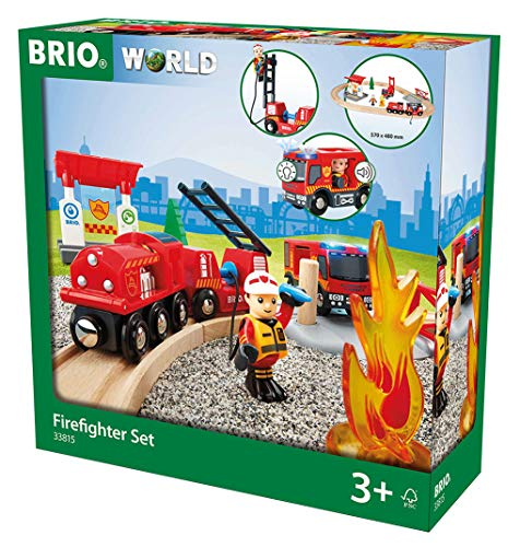 - BRIO 33815 Rescue Firefighter Set | 18 Piece Train Toy with a Fire Truck, Accessories and Wooden Tracks for Ages 3 and Up