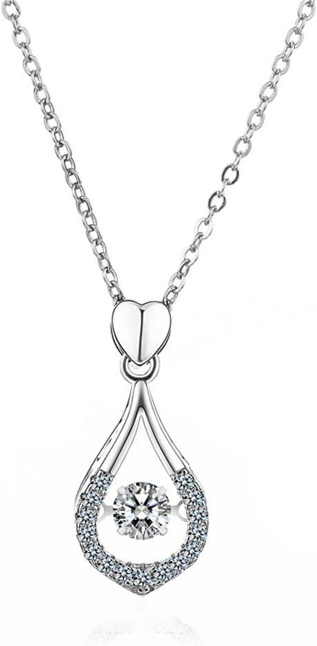 LINLIN S925 Cadena De Clavícula De Plata Columpio Bailando Colgante De Gota De Circonio Collar De Moda