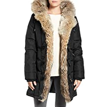 Pajar Women's Black Nikita Genuine Fur Trim Down Coat