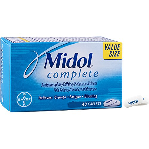 Midol Complete  Menstrual Period Symptoms Relief Including Premenstrual Cramps  Pain  Headache  And Bloating  Caplets  40 Count