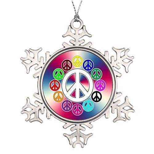 wonbye Christmas Ornaments 2018, Retro Peace Signs Ideas for Decorating Trees Metal Snowflake Tree Decoration, Friends -