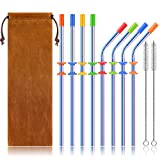 Stainless Steel Straws Set, Kereda 8 Pack 10.5 Inch Long Drinking Metal Reusable Straws with Cleaning Brushes and Silicone Covers For Tumblers Cups Cold Beverage (4 Straight 4 Bent), Multicolor