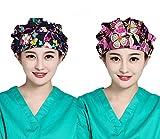 FULLANT Women Adjustable Floral Print Scrub Cap Hospital Medical Surgical Surgery Hat for Doctors Nurses - 2 Piece