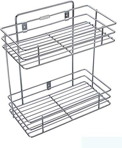DD RETAILS Double Layer Wall Mounted Kitchen Rack Kitchen Accessories Organizer Stainless Steel Wall Shelf (Silver) Price & Reviews