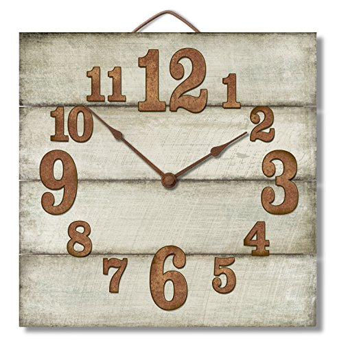Highland Graphics 12quot Rustic Antique White Wall Clock Made in USA from Reclaimed Wood Slats