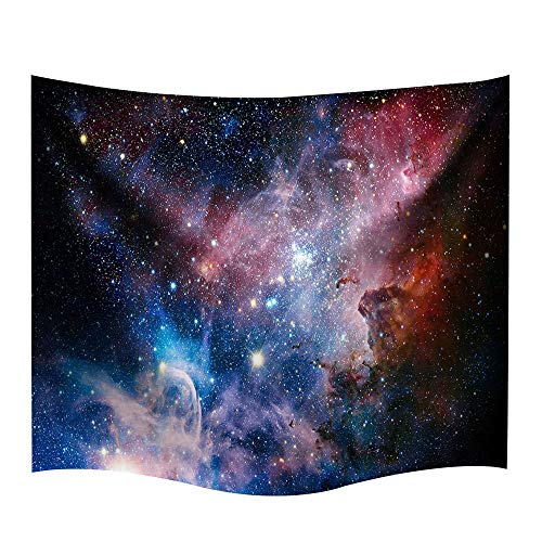 DENGYUE Galaxy Space Tapestry Wall Hanging, Universe Theme Asterism Star Wall Decor Blanket Bohemian Out Space Tapestry Colored Printed Decorative Mandala Tapestry Wall Carpet -