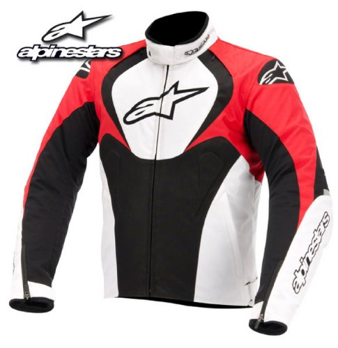 Alpinestars Jaws Waterproof Men's Street Motorcycle Jackets - Black/White/Red / Large (Alpinestars Armor Jacket)