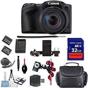 Canon PowerShot SX420 IS Digital Camera (Black) + Extremespeed 32GB High Speed Memory Card + High Speed Memory Card Reader + Spider Tripod + Camera Case and More