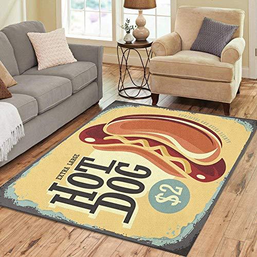 Pinbeam Area Rug Hot Dog Retro Tin Sign Vintage Metal Home Decor Floor Rug 2' x 3' -