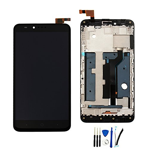 Lcd Screen Bezel (Full LCD Display Screen digitizer Touch panel Assembly For ZTE Zmax Pro Z981 replacement Black with Frame /Bezel)