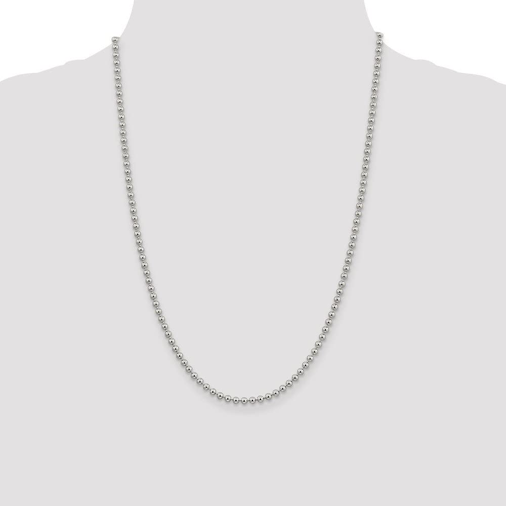 925 Sterling Silver 3mm Beaded Chain Necklace 16 Inch Pendant Charm Ball Beadsed Fine Jewelry For Women Gift Set