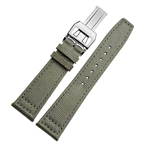 20mm 21mm 22mm Canvas Leather Watch Band Strap Fits For IWC PILOT'S WATCHES PORTUGIESER PORTOFINO FAMILY (22mm, light green(Silver (Iwc Mens Band)