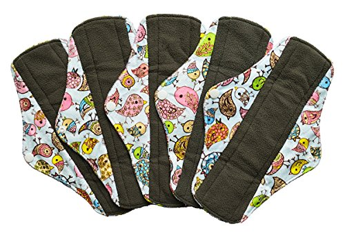 5 Pieces Charcoal Bamboo Mama Cloth/ Menstrual Pads/ Reusable Sanitary Pads (Regular (10 inch), Birds)