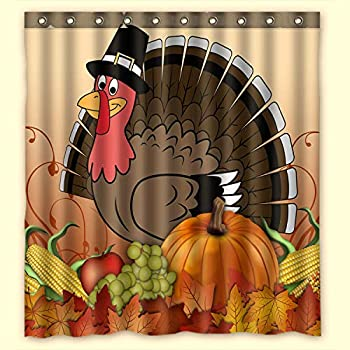 Thanksgiving Turkey with Pumpkin Waterproof Bathroom Fabric Shower Curtain,Bathroom Decor 66