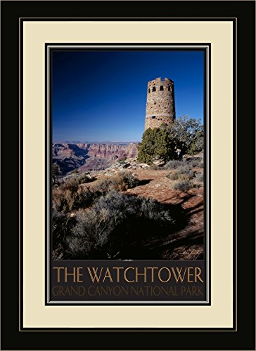 - Northwest Art Mall IL-4751 MFGDM The Watchtower Grand Canyon National Park Framed Wall Art by Artist Ike Leahy, 13 x 16