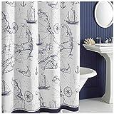 Oversized Shower Curtain DS BATH Aviation Nautical Shower Curtains,Mildew Resistant Fabric Shower Curtain,Navy Shower Curtains Bathroom,Print Bathroom Curtains,Waterproof Decorative Bath Curtains,78
