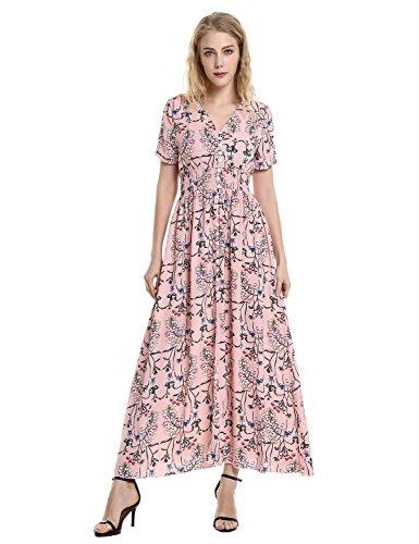 ZAN.STYLE Floral Maxi Dress, Women Sexy Long Beach Maxi Dress, Empire Waist Button up Boho Maxi Dress with Short Sleeve - Floral Empire Dress