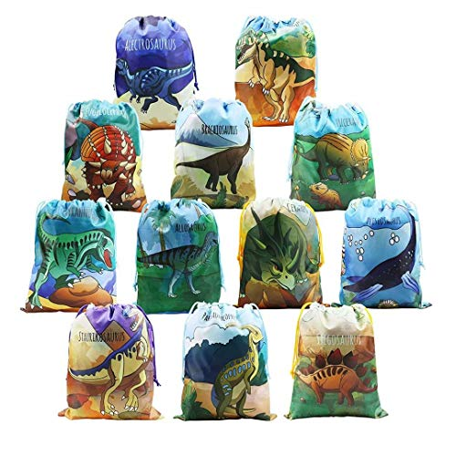 BeeGreen Dinosaur Party Supplies Favors Bags for Kids Boys and Girls Birthday 12 Pack Dino Drawstring Gift Pouch for Goody ()