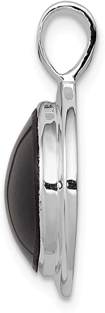 FB Jewels Solid 925 Sterling Silver Rhodium Plated Onyx Pendant