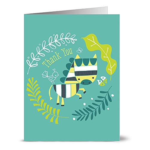24 Note Cards - Thank You Zebra Turquoise - Blank Cards - Kraft Envelopes Included (Hippo Note Card)
