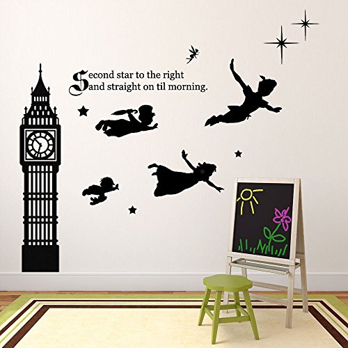 Peter Pan Wall Decal Vinyl Art Stickers for Kids Room, Playroom, Boys Room, Girls Room - Second Star (Baby Peter Pan compare prices)