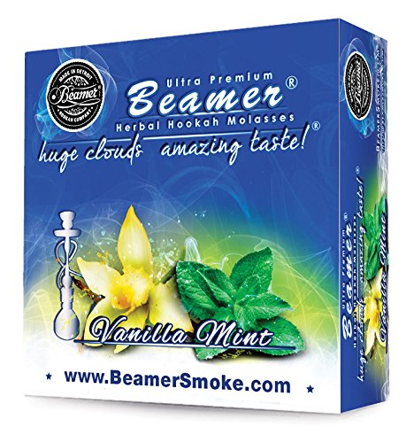 Vanilla Mint Beamer Herbal Hookah Shisha Molasses 50g. Huge Clouds, Amazing Taste! Tobacco Free, Nicotine Free. Better Taste & Clouds than tobacco. Made in USA! Use with Hookah Nargila, charcoal