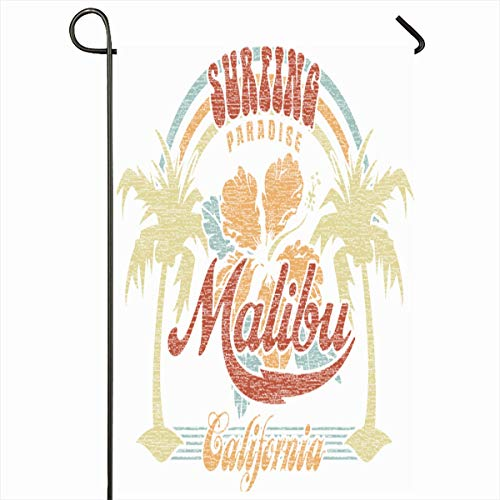 - Ahawoso Outdoor Garden Flag 12x18 Inches Grunge Girl Surf Malibu Surfing Paradise Vintage California Summer Beach Tropical Hibiscus Party Design Seasonal Double Sides House Yard Sign