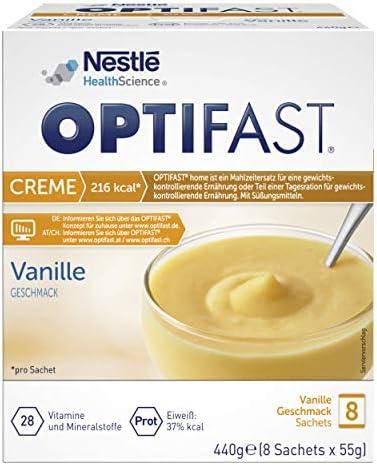 Crema dieta óptima de vainilla para adelgazar, sustituto de la comida rica en proteínas con vitaminas y minerales importantes, preparación rápida y ...