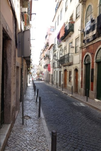 (Narrow Street in Lisbon Portugal Journal: 150 page lined notebook/diary)