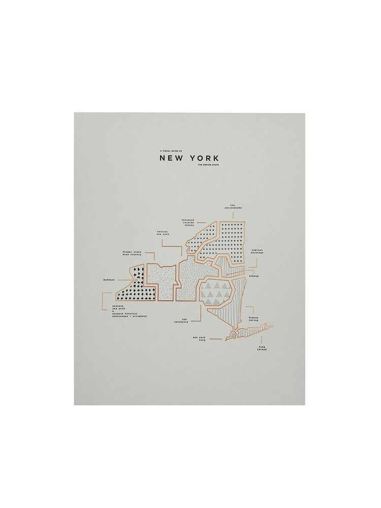 Amazon Com Roam By 42 Pressed New York State Map Print Posters