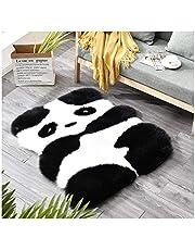 Mars Jun Imitatiebont schapenvacht dier tapijt, panda pinguïn print vloermat shaggy winter warm woltapijt voor slaapkamer keuken woonkamer kleuterschool