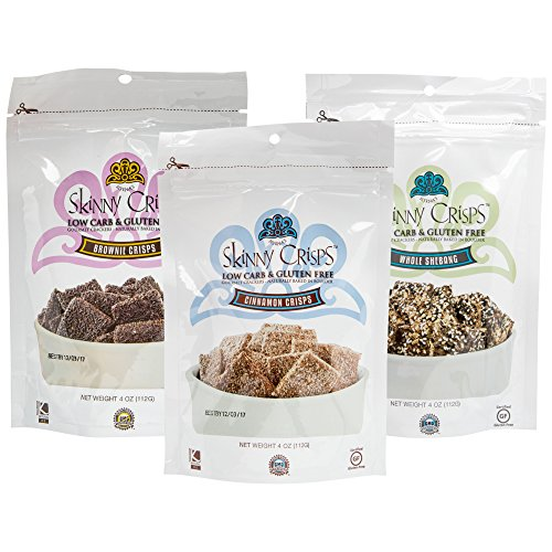 Skinny Crisps Low Carb Gluten Free Crackers Variety Pack (Variety 3 Pack, 3 (Carb Cracker)