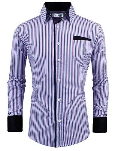 Tom's Ware Mens Classic Slim Fit Vertical Striped Longsleeve Dress Shirt TWCS16-PURPLE-US XL ()