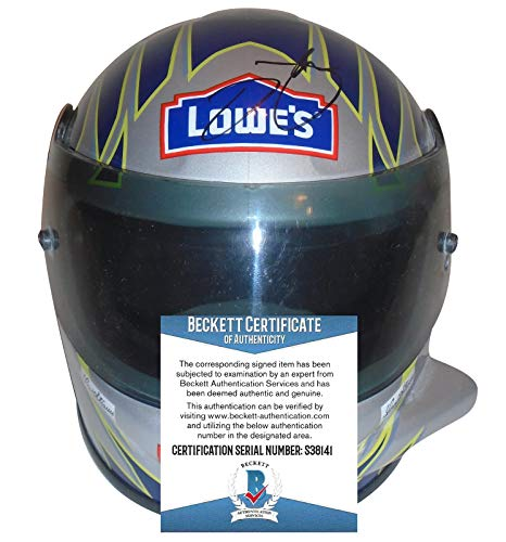 Jimmie Johnson Nascar Legend Autographed Signed Lowes 1:3 Scale Riddell Nascar Racing Mini Helmet with Beckett Authentication BAS COA S38141 - Sprint Cup Series