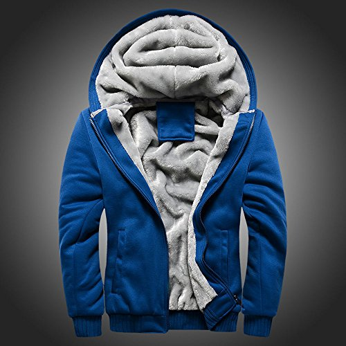 (Toimothcn Mens Faux Fur Lined Coat Winter Warm Fleece Hood Zipper Sweatshirt Jacket Outwear (Blue2,XXL))