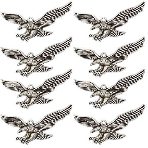 40 Pcs Alloy Metal Beads Eagle Charms Jewelry Finding for Necklace Bracelet Earring Jewelry Making, Antique Silver