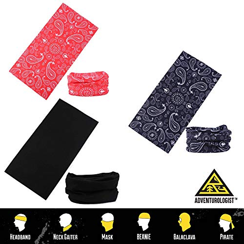 (MULTIFUNCTIONAL HEADWEAR 3PC VARIOUS DESIGNS-Absorbs Sweat, UV Protection, 12-In-1 Headband For Outdoor Sports -Wear as a Neck Gaiter, Ski Mask, Bandana, Scarf And More-For Men and Women )
