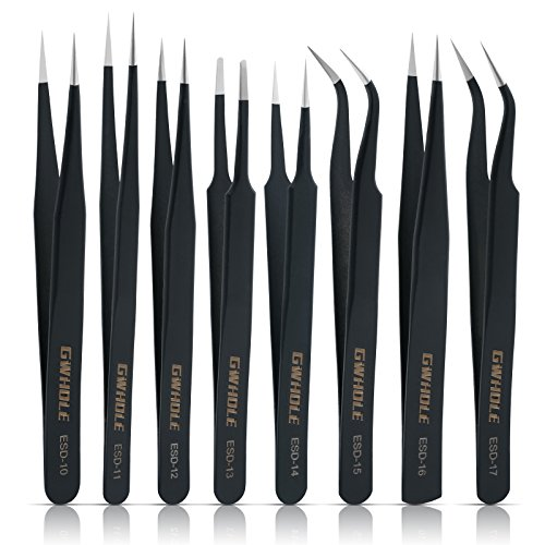 - GWHOLE 8 Pcs Precision Anti-Static ESD Stainless Steel Tweezers Set for Electronics, Jewelry, Crafts