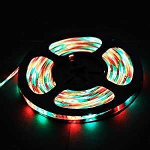 XKTTSUEERCRR (Two Rolls) 3528 SMD 270LED, 10M/32.8 FT, Waterproof Flexible RGB Color Changing LED Light Strip For Outdoors/Indoors/Car/Stage/Festivals/Party Decoration + Multifunction 44Key IR Remote Controller (Power Supply Not Included)