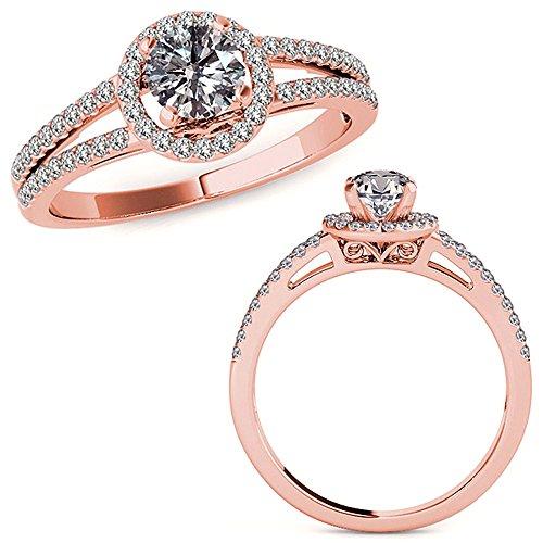 1.07 Carat G-H Diamond Lovely Design Beautiful Halo Anniversary Promise Women Band Ring 14K Rose Gold ()