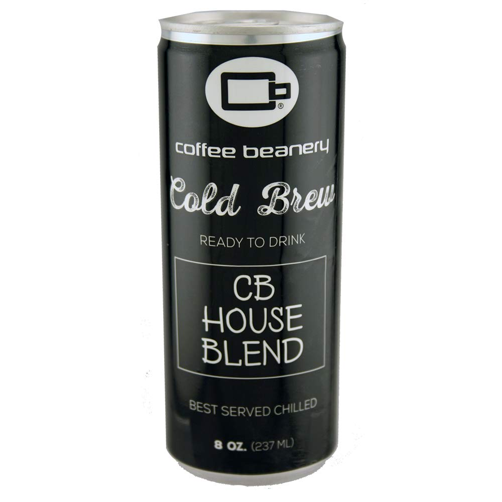 Coffee Beanery CB House Blend Cold Brew, Ready to Drink, 8oz can, Pack of 12