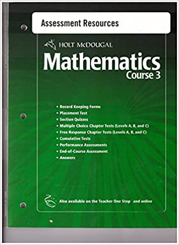 Holt mcdougal mathematics course 3 assessment resources 978 055 holt mcdougal mathematics course 3 assessment resources 978 055 400517 1 isbn 0 55 400517 4 amazon books fandeluxe Images