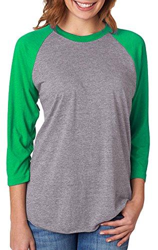 (Next Level Unisex 3/4-Sleeve Raglan T-Shirt, Envy/Premium HTHR, Large)