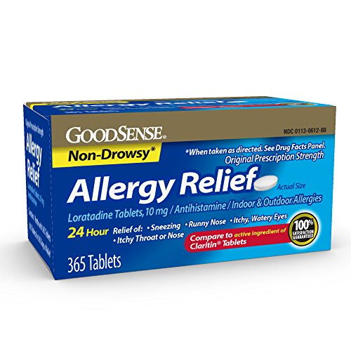 GoodSense Allergy Relief Loratadine Tablets, 10 mg, 365 Count Allergy Pills for Allergy Relief (Best Over The Counter Dog Allergy Medicine)