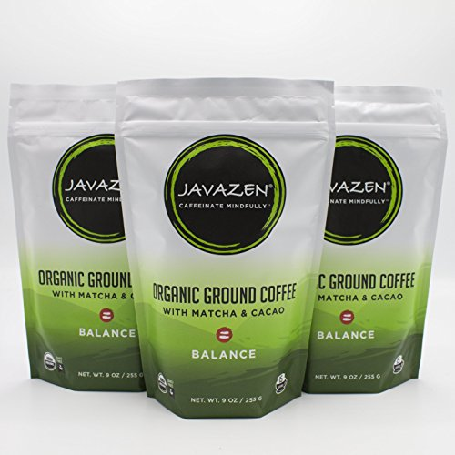 Javazen Balance | Organic Coffee Blended with Matcha Green Tea and Chocolate for Focus + Energy | Low Acid, Non-GMO, Vegan, Paleo | 3 Bags - 9oz. - 45 - Bring To Of List Things Camping